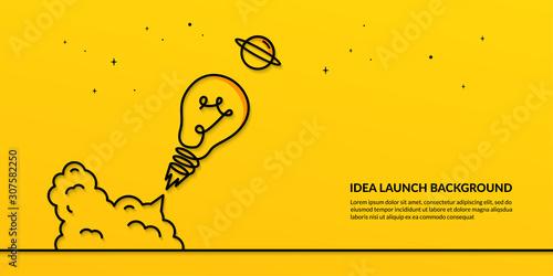 Fotografija Light bulb launching to space on yellow background, flat start up idea concept