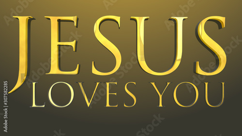 Jesus Loves You Text 3D Illustration Canvas-taulu