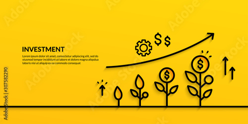 Fototapeta Invesment on yellow background, growing business finance concpet obraz