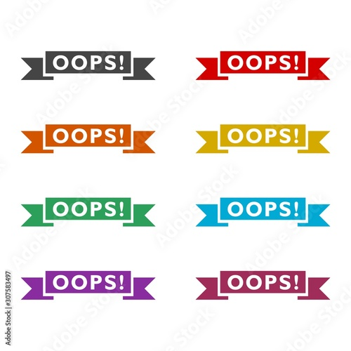 Vászonkép Oops sign color set isolated on white background