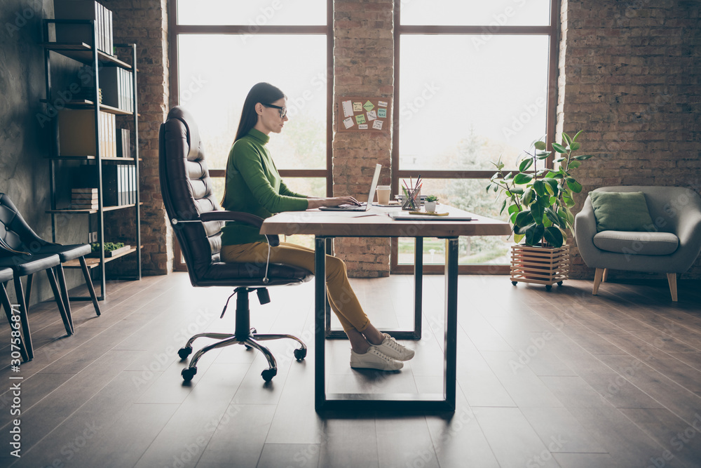 Fototapeta Full length profile photo of busy brunette business lady resourceful person notebook table modern user sit boss chair wear specs green turtleneck yellow pants modern interior office