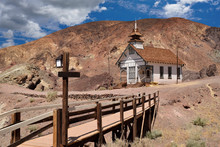 Old School House In The Ghost Town In Calico, California