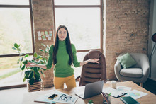 Photo Of Pretty Business Lady Meet Partners Friendly Smiling Important Company Guests Need Take Money Investment Wear Green Turtleneck Yellow Trousers Modern Interior Office