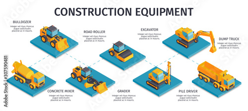 Construction Equipment Isometric Infographics Obraz na płótnie