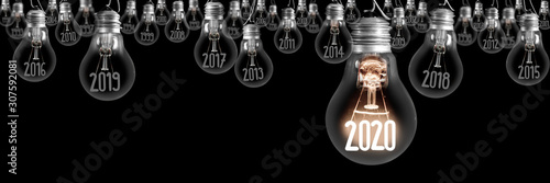 La pose en embrasure Amsterdam Light Bulbs with New Year 2020