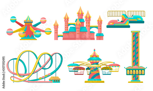 Slika na platnu Amusement Park Attractions Set, Rollercoaster, Castle, Carousels Vector Illustra