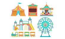 Amusement Park Attractions Set, Carousels,Circus Tent, Ticket Booth, Ferris Wheel Vector Illustration