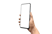 Hand Showing Modern Smartphone Without Camera. Isolated Background And Screen For App Presentation, Mockup. Right Side Position.