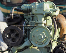 KRAGUJEVAC,SERBIA - JULY 29, 2017:  Engine Mercedes Benz, Brand In The Engine Industry