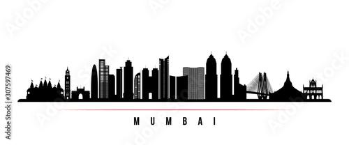 Fototapeta premium Baner poziomy Bombaju. Czarno-biała sylwetka Bombaju w Indiach. Szablon wektor dla swojego projektu.