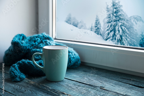 Fotografie, Tablou  Winter background - cup with candy cane, woolen scarf and gloves on windowsill and winter scene outdoors