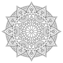 Round Mandala With Floral Pattern. Black And White Coloring Page . Vector Design.