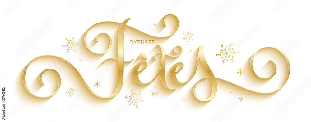 Fototapeta Bannière calligraphique vecteur doré « JOYEUSES FETES »