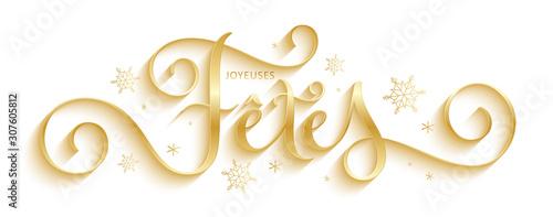 Fotografía Bannière calligraphique vecteur doré « JOYEUSES FETES »