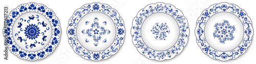 Set of blue porcelain plates, floral pattern with Chinese motives
