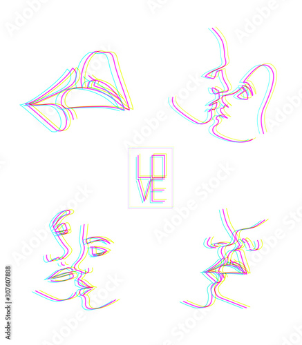 Kissing couple, kiss, lips Canvas-taulu