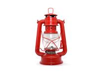 Red Kerosene Lamp Isolated On ...