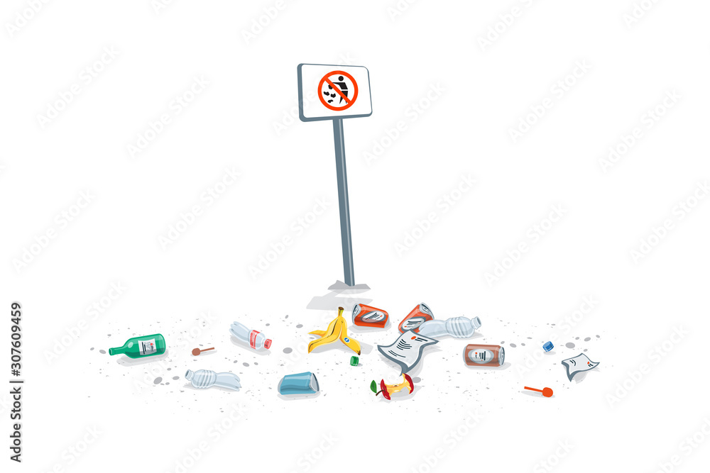 Fototapeta Isolated trash on the ground with no littering sign. Dirty forbidden pollution. Plastic garbage disposed improperly throwing away on the ground. Fallen rubbish on white background.