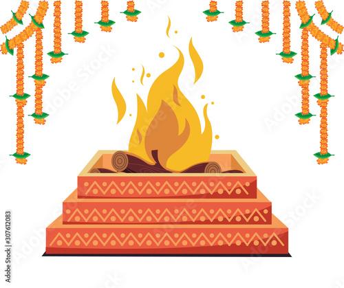 havan, hindu religion spiritual fire Wallpaper Mural