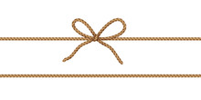 String Bow Isolated On Transparent Background. Vector Cord, Jute Or Twine Rope Knot. Brown Parcel Wrap Element Template..