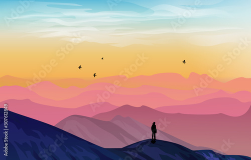 beautiful mountain landscape vector illustration with colorful gradient