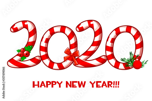 Happy new year 2020 text as candy cane and lollipop on white background Wallpaper Mural