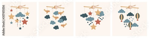 Fotomural  Vector baby mobile set