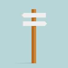 Backward And Forward Different Directions Sign Street Decoration Object Isolated On Blue Retro Flat Design Vector Illustration