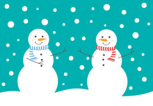 Two Snowman Enjoy Snow Fall In...