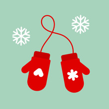 Christmas Red Mittens Gloves.