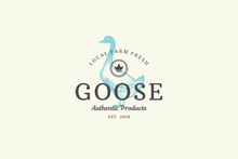 Hand Drawn Logo Poultry Goose Silhouette And Modern Vintage Typography Retro Style Vector Illustration.