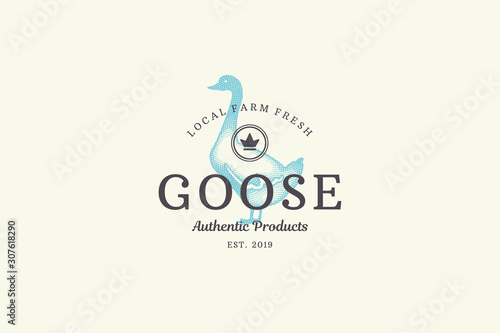 Fotografie, Tablou Hand drawn logo poultry goose silhouette and modern vintage typography retro style vector illustration