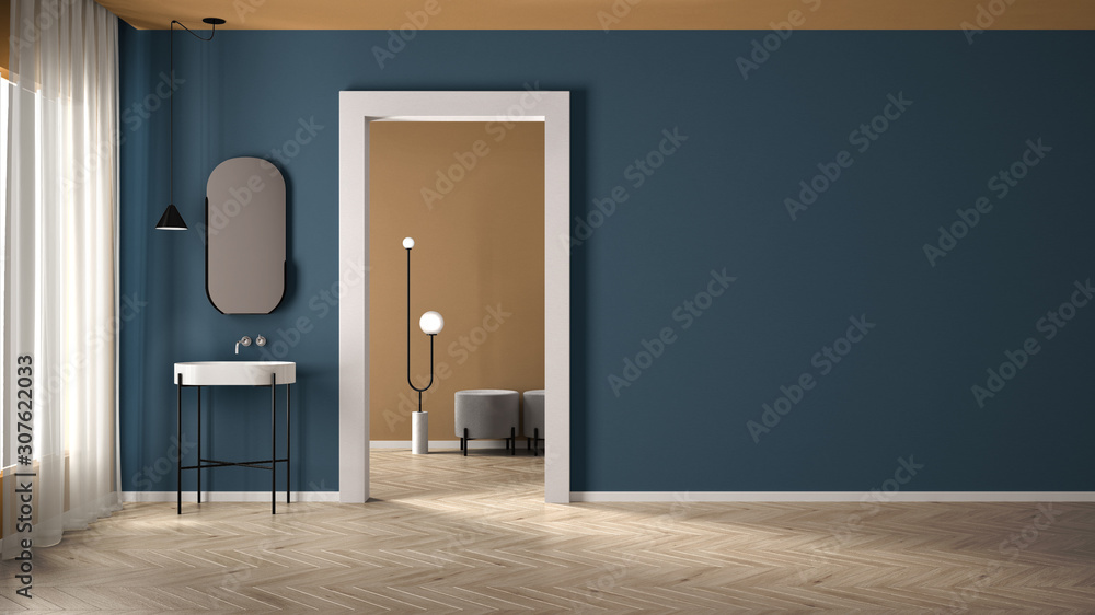 Fototapeta Minimalist bathroom with plaster walls and parquet floor, empty room with sink and mirror, door with room in the background. Blue and yellow interior design concept with copy space