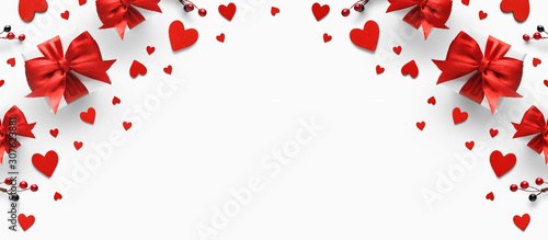 Obraz Gifts with red satin bow and hearts. - fototapety do salonu