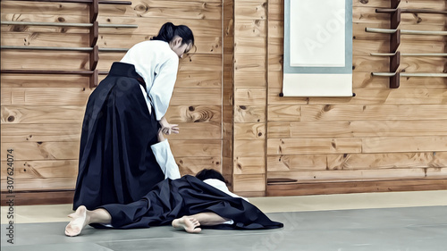 Illustration Art of A Lady Aikido Martial Artists in Traditional Costume Illustrating Wrist / Hand / Arm Lock Technique to Control The Opponent Canvas Print