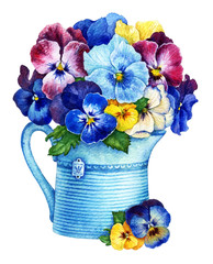 Panel Szklany Malarstwo Pansies in a pot. Watercolor illustration.