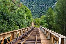 Railway Track On Bridge Over La Tet River, Villefranche-de-Conflent, Pyrenees-Orientales, Occitanie, France