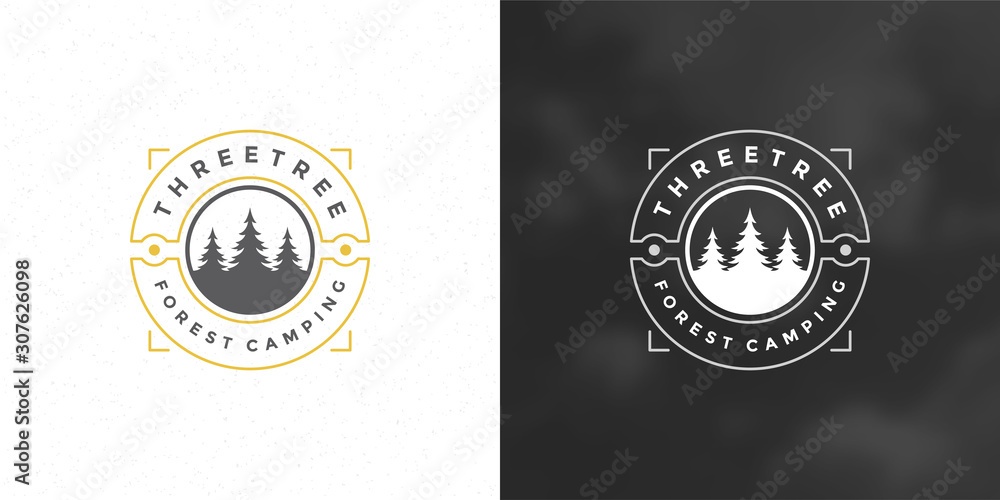 Fototapeta Forest camping logo emblem vector illustration outdoor adventure leisure pine trees silhouettes