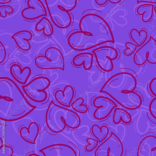 Fototapeta Seamless repeating pattern of different size hearts