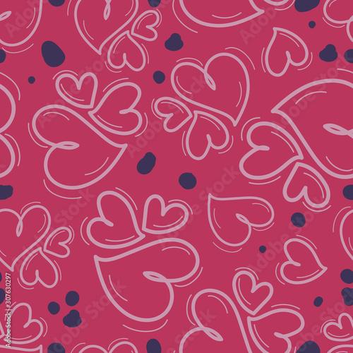 Obraz na plátně Seamless repeating pattern of different size hearts