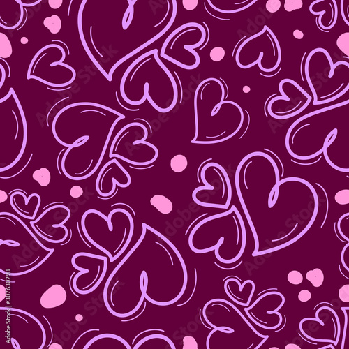Fotografie, Obraz Seamless repeating pattern of different size hearts