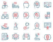 Psychology Items Color Linear Icons Set