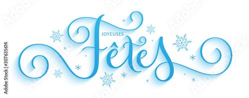 Stampa su Tela  Bannière calligraphique vecteur bleu « JOYEUSES FETES »