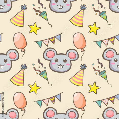 фотография Vector illustration of cute cartoon about The Year of the Rat seamless pattern on egg nog color tone background