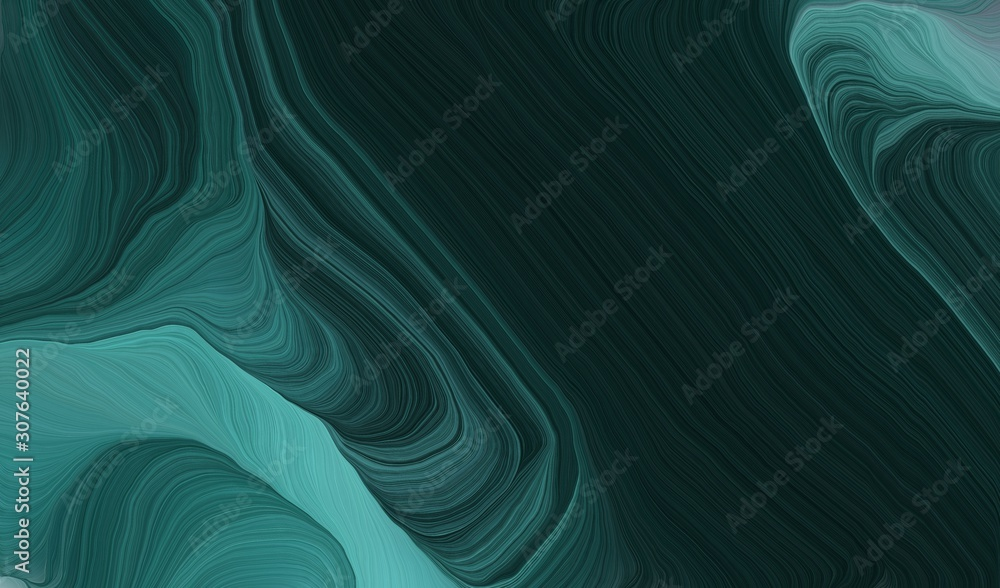 elegant curvy swirl waves background illustration with very dark blue, blue chill and dark slate gray color
