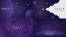 Space Exploration Concept. Color Wallpapers Set. Dark Background With White Wave For Text. Flat Design Template Of Gift Cards, Cover, Banner, Invitation, Poster, Landing Page, Website Or Game Layout.
