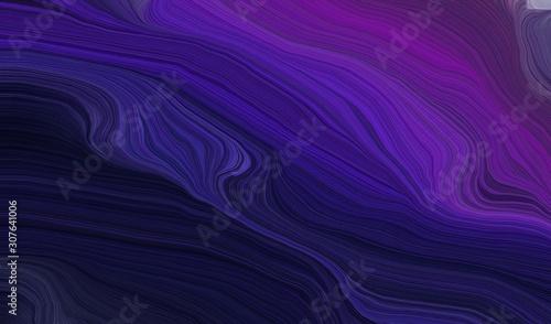 Carta da parati  modern waves background illustration with very dark violet, very dark blue and d