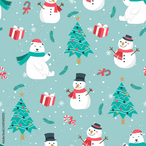 Fotografie, Obraz Christmas seamless pattern with snowman background, Winter pattern with bear, wr