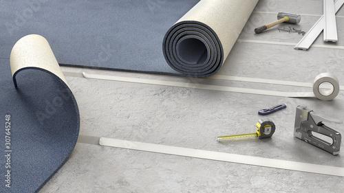 Obraz Process of carpeting on adhesive tape, 3d illustration - fototapety do salonu