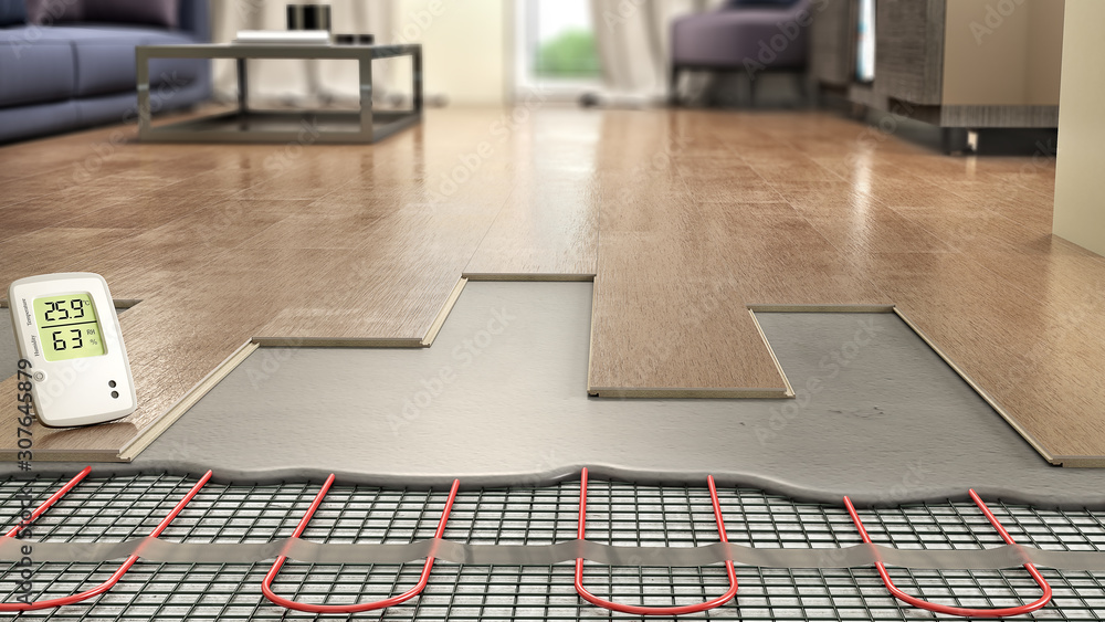 Fototapeta Process of laying laminate panels on floor with underfloor heating, 3d illustration